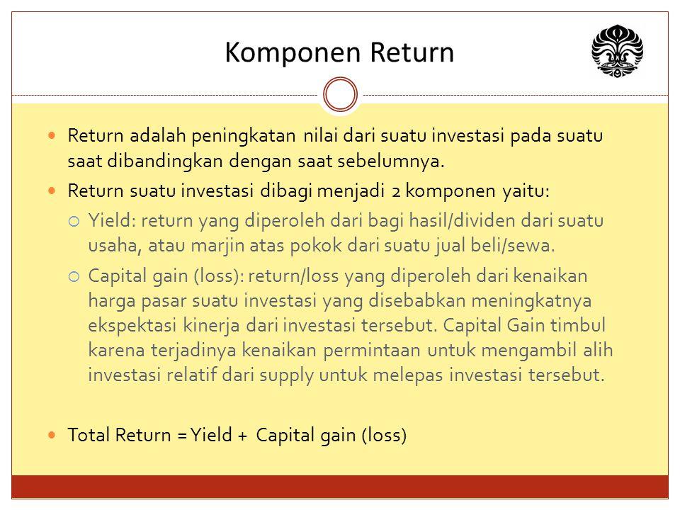 Komponen Return Return adalah peningkatan nilai dari suatu investasi pada suatu saat dibandingkan dengan saat sebelumnya.