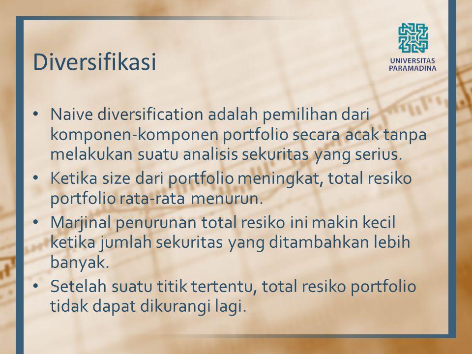 Diversifikasi Naive diversification adalah pemilihan dari komponen-komponen portfolio secara acak tanpa melakukan suatu analisis sekuritas yang serius