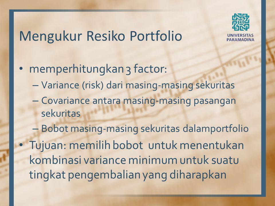 Mengukur Resiko Portfolio memperhitungkan 3 factor: – Variance (risk) dari masing-masing sekuritas – Covariance antara masing-masing pasangan sekurita