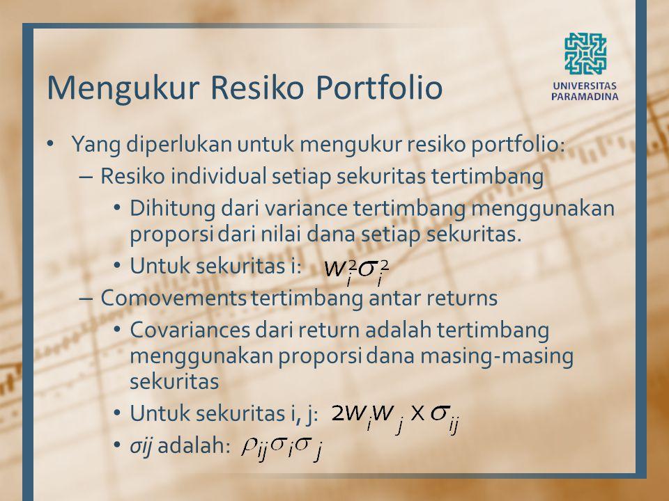 Mengukur Resiko Portfolio Yang diperlukan untuk mengukur resiko portfolio: – Resiko individual setiap sekuritas tertimbang Dihitung dari variance tert
