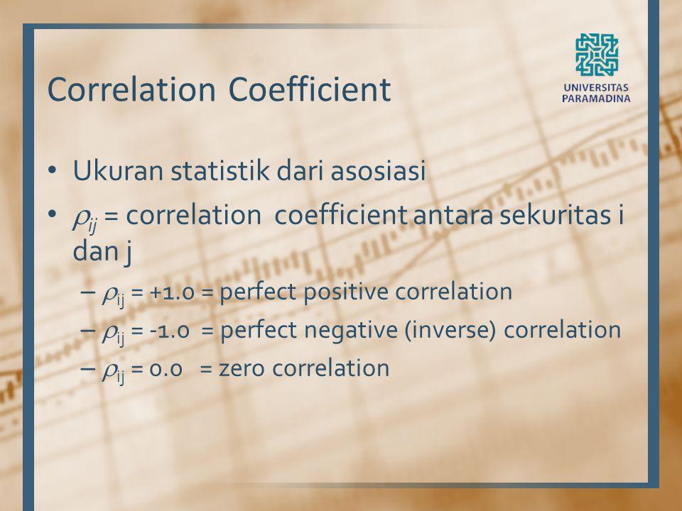 Correlation Coefficient Ukuran statistik dari asosiasi  ij = correlation coefficient antara sekuritas i dan j –  ij = +1.0 = perfect positive correl