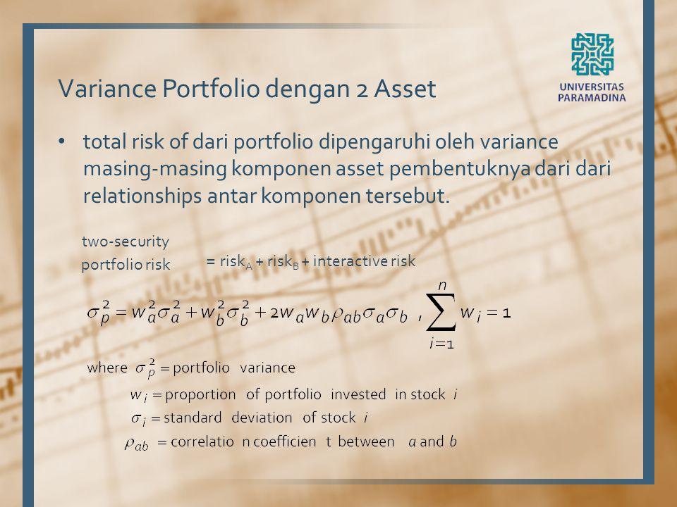 Variance Portfolio dengan 2 Asset total risk of dari portfolio dipengaruhi oleh variance masing-masing komponen asset pembentuknya dari dari relations