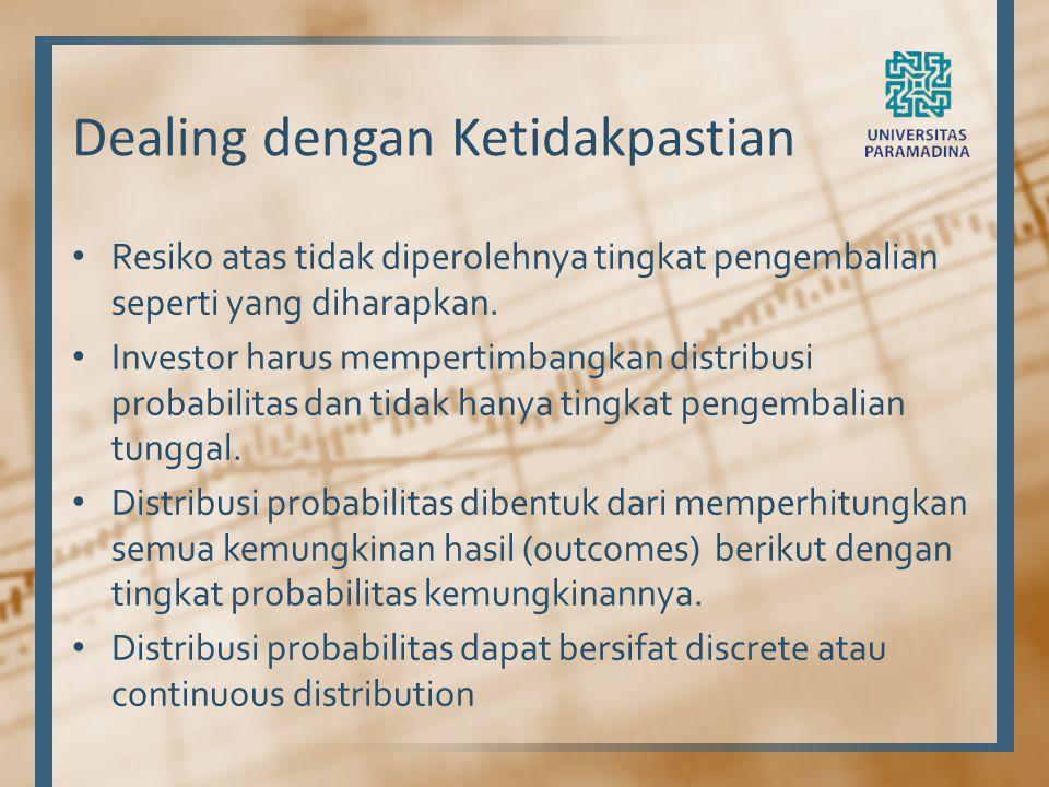 Dealing dengan Ketidakpastian Resiko atas tidak diperolehnya tingkat pengembalian seperti yang diharapkan. Investor harus mempertimbangkan distribusi