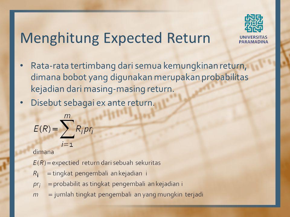 Menghitung Expected Return Rata-rata tertimbang dari semua kemungkinan return, dimana bobot yang digunakan merupakan probabilitas kejadian dari masing