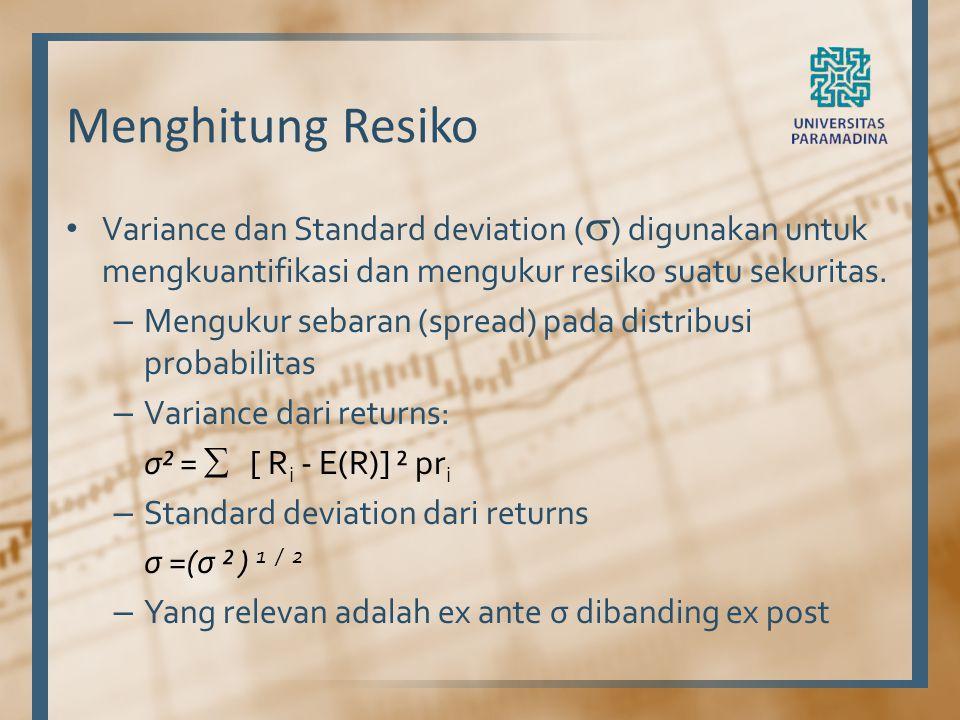Menghitung Resiko Variance dan Standard deviation (  ) digunakan untuk mengkuantifikasi dan mengukur resiko suatu sekuritas. – Mengukur sebaran (spre