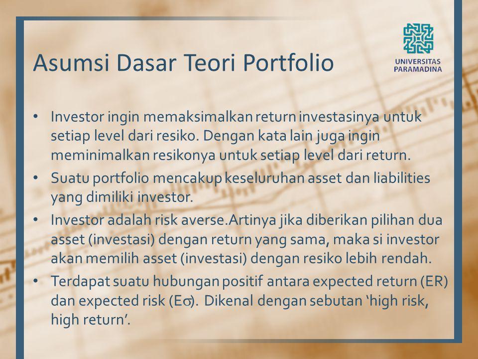Asumsi Dasar Teori Portfolio Investor ingin memaksimalkan return investasinya untuk setiap level dari resiko. Dengan kata lain juga ingin meminimalkan