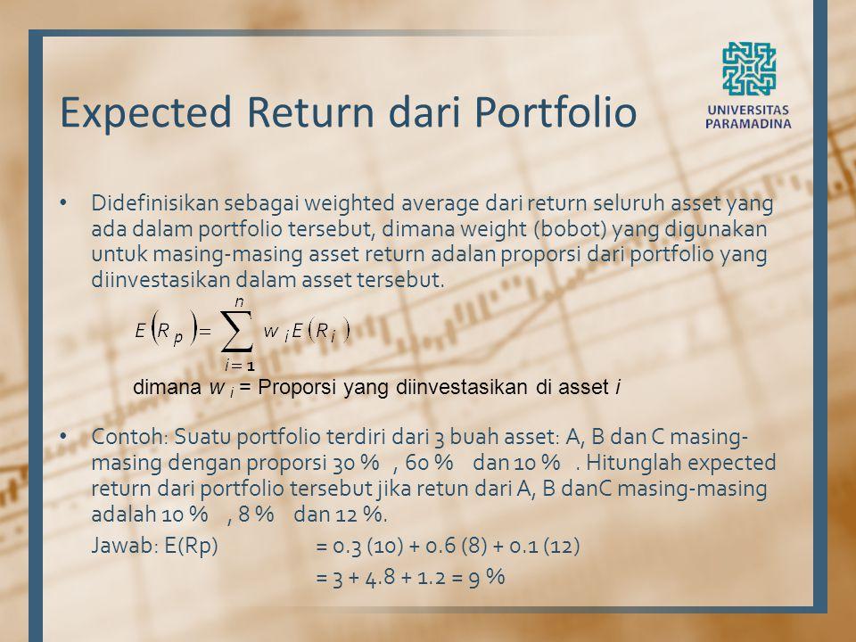 Expected Return dari Portfolio Didefinisikan sebagai weighted average dari return seluruh asset yang ada dalam portfolio tersebut, dimana weight (bobo