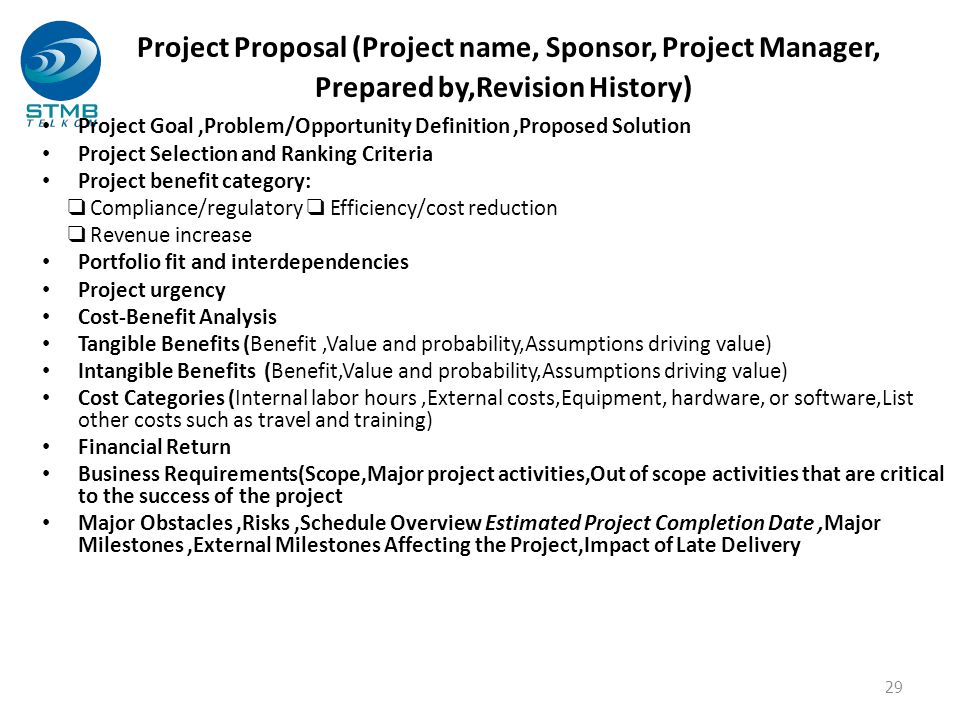 Project Proposal (Project name, Sponsor, Project Manager, Prepared by,Revision History) Project Goal,Problem/Opportunity Definition,Proposed Solution