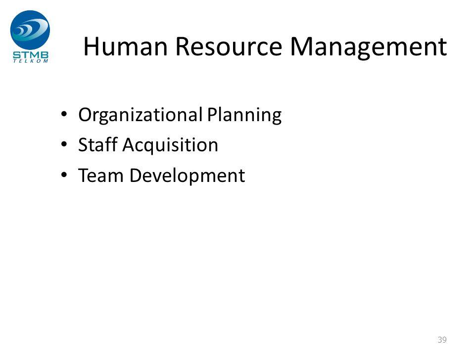 Human Resource Management Organizational Planning Staff Acquisition Team Development 39