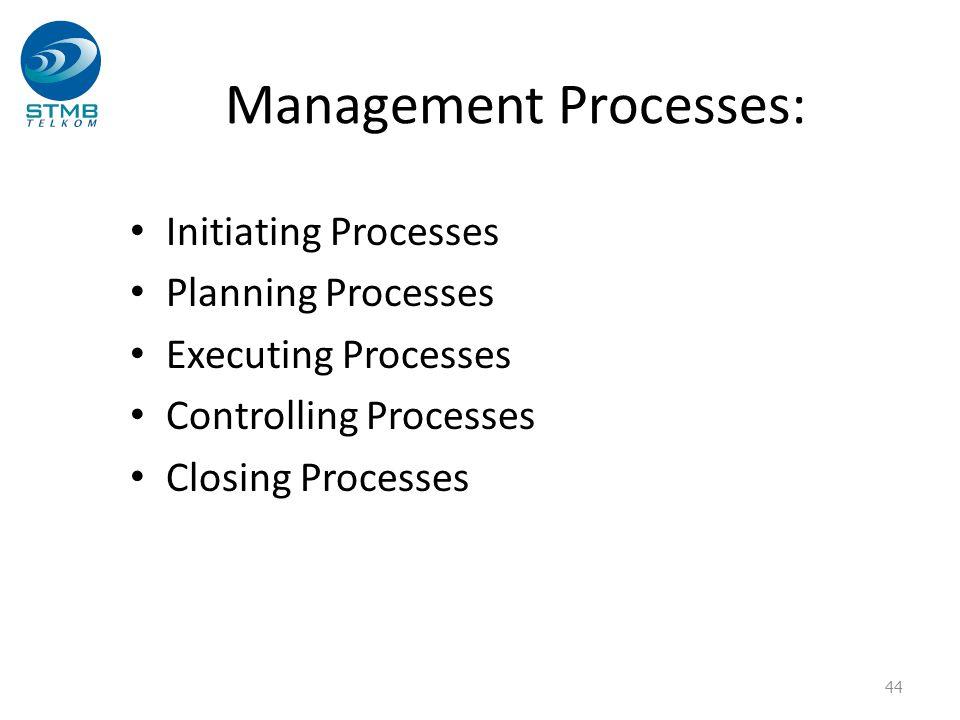 Management Processes: Initiating Processes Planning Processes Executing Processes Controlling Processes Closing Processes 44