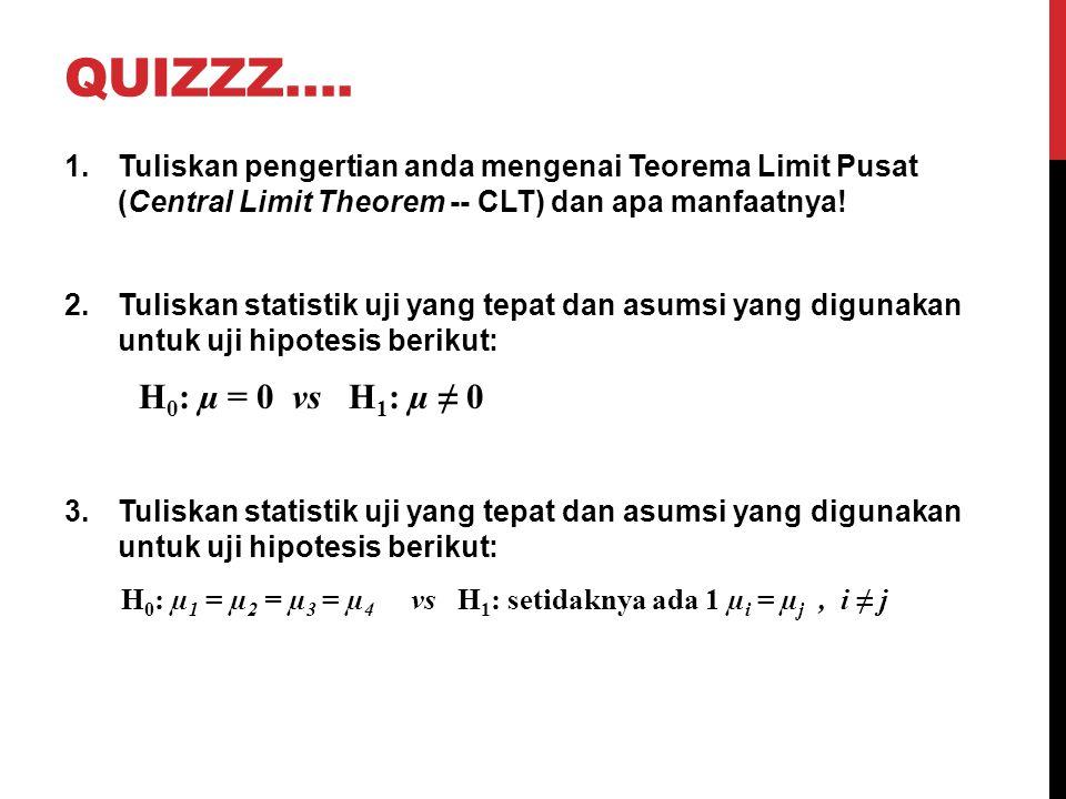 QUIZZZ…. 1.Tuliskan pengertian anda mengenai Teorema Limit Pusat (Central Limit Theorem -- CLT) dan apa manfaatnya! 2.Tuliskan statistik uji yang tepa