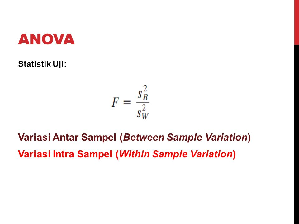 ANOVA Statistik Uji: Variasi Antar Sampel (Between Sample Variation) Variasi Intra Sampel (Within Sample Variation)