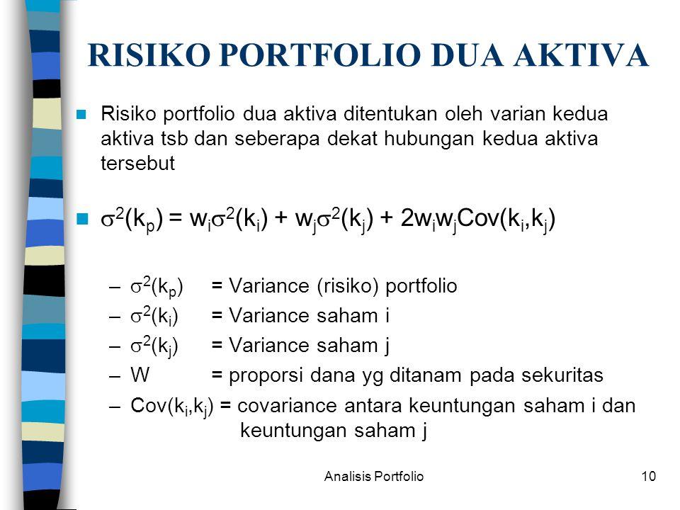 Analisis Portfolio10 RISIKO PORTFOLIO DUA AKTIVA Risiko portfolio dua aktiva ditentukan oleh varian kedua aktiva tsb dan seberapa dekat hubungan kedua aktiva tersebut  2 (k p ) = w i  2 (k i ) + w j  2 (k j ) + 2w i w j Cov(k i,k j ) –  2 (k p ) = Variance (risiko) portfolio –  2 (k i )= Variance saham i –  2 (k j ) = Variance saham j –W = proporsi dana yg ditanam pada sekuritas –Cov(k i,k j ) = covariance antara keuntungan saham i dan keuntungan saham j