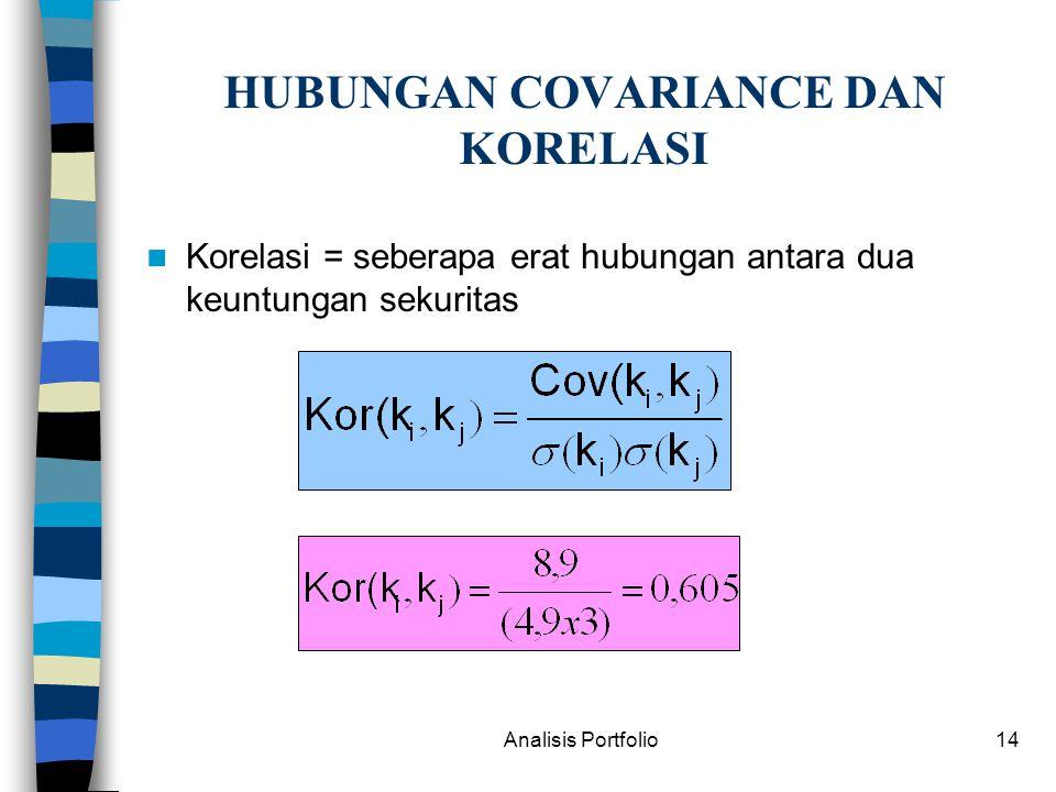 Analisis Portfolio14 HUBUNGAN COVARIANCE DAN KORELASI Korelasi = seberapa erat hubungan antara dua keuntungan sekuritas