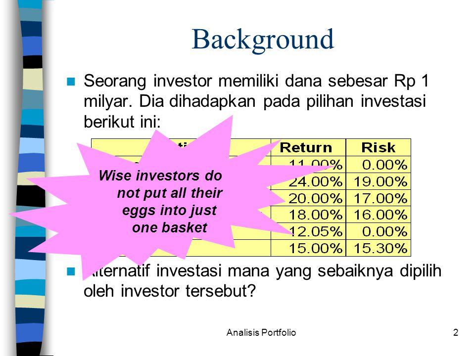 Analisis Portfolio23 KURVA INDIFFERENCE kpkp pp U1U1 U2U2 U3U3 Kurva yg menunjukkan preferensi risk-averse investor dalam memilih kombinasi sekuritas Utility yg meningkat