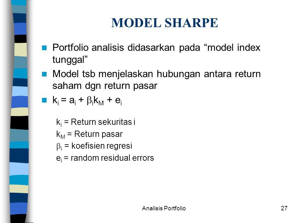Analisis Portfolio27 MODEL SHARPE Portfolio analisis didasarkan pada model index tunggal Model tsb menjelaskan hubungan antara return saham dgn return pasar k i = a i +  i k M + e i k i = Return sekuritas i k M = Return pasar  i = koefisien regresi e i = random residual errors