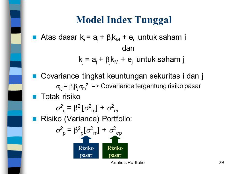 Analisis Portfolio29 Model Index Tunggal Atas dasar k i = a i +  i k M + e i untuk saham i dan k j = a j +  j k M + e j untuk saham j Covariance tingkat keuntungan sekuritas i dan j  i,j =  i  j  m 2 => Covariance tergantung risiko pasar Totak risiko  2 i, =  2 i [  2 m ] +  2 ei Risiko (Variance) Portfolio:  2 p =  2 p [  2 m ] +  2 ep Risiko pasar