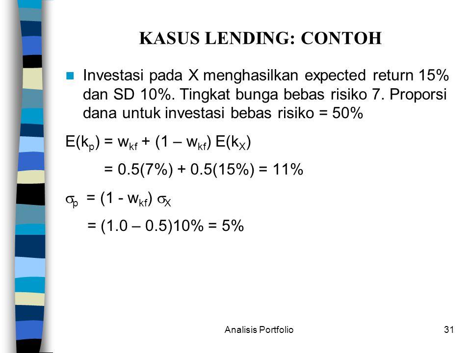 Analisis Portfolio31 KASUS LENDING: CONTOH Investasi pada X menghasilkan expected return 15% dan SD 10%.