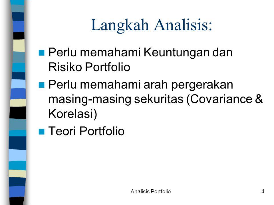 Analisis Portfolio4 Langkah Analisis: Perlu memahami Keuntungan dan Risiko Portfolio Perlu memahami arah pergerakan masing-masing sekuritas (Covariance & Korelasi) Teori Portfolio