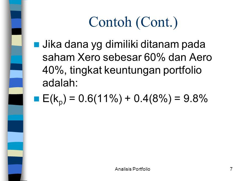 Analisis Portfolio7 Contoh (Cont.) Jika dana yg dimiliki ditanam pada saham Xero sebesar 60% dan Aero 40%, tingkat keuntungan portfolio adalah: E(k p ) = 0.6(11%) + 0.4(8%) = 9.8%