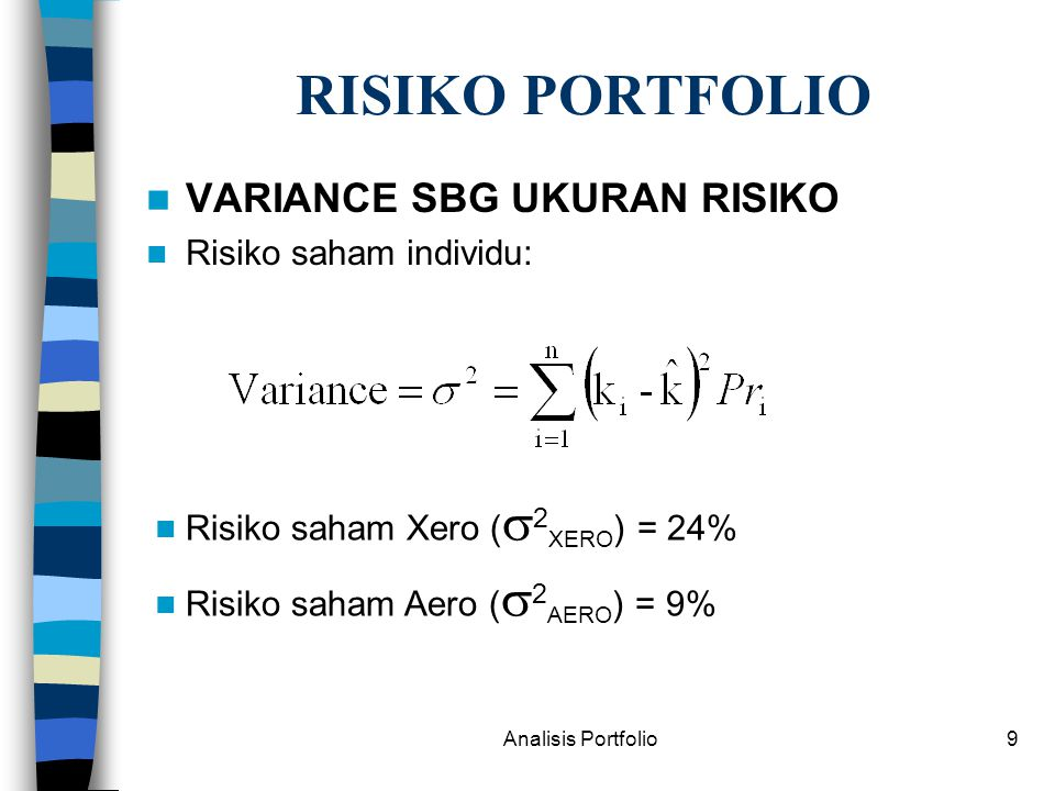 Analisis Portfolio20 TEORI PORTFOLIO MARKOWITZ MODEL Secara teoritis, portfolio yang optimal didasarkan pada: –Kurva Efficient Frontier –Kurva indifference (Risk-Averse Preference)