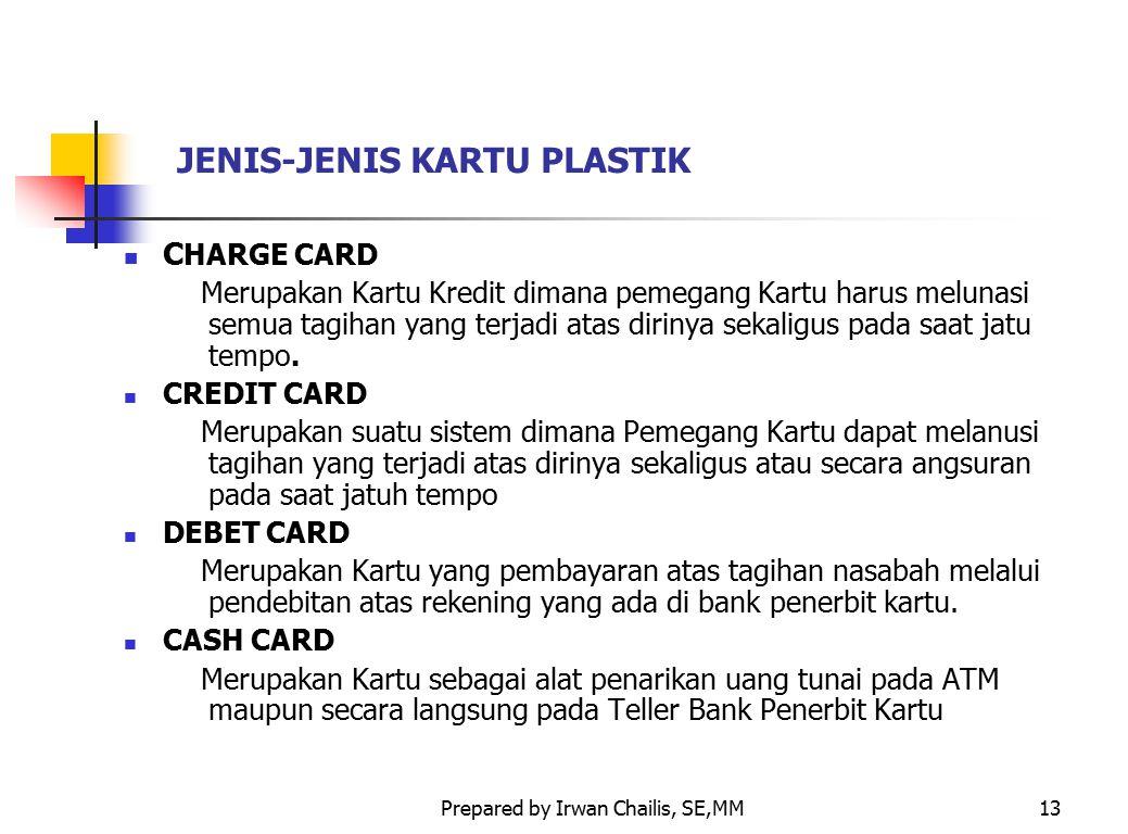 Prepared by Irwan Chailis, SE,MM13 JENIS-JENIS KARTU PLASTIK C HARGE CARD Merupakan Kartu Kredit dimana pemegang Kartu harus melunasi semua tagihan ya