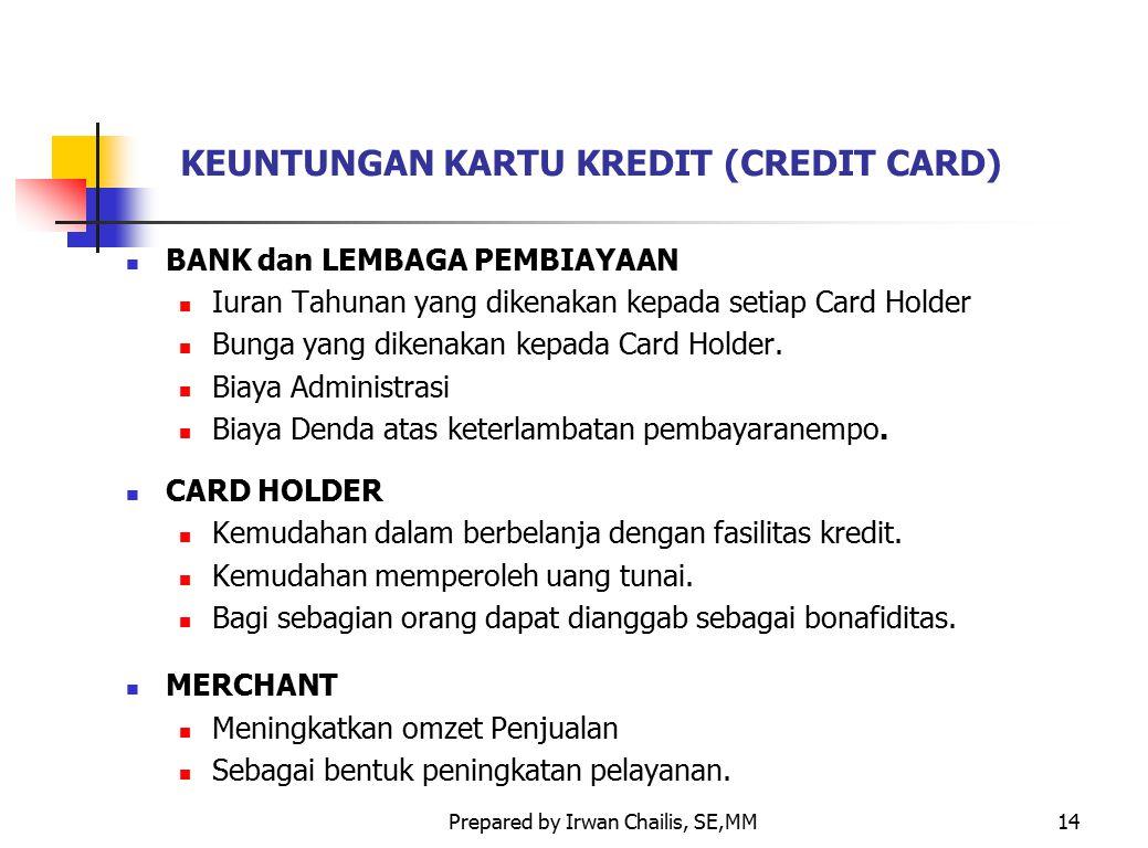 Prepared by Irwan Chailis, SE,MM14 KEUNTUNGAN KARTU KREDIT (CREDIT CARD) BANK dan LEMBAGA PEMBIAYAAN Iuran Tahunan yang dikenakan kepada setiap Card H