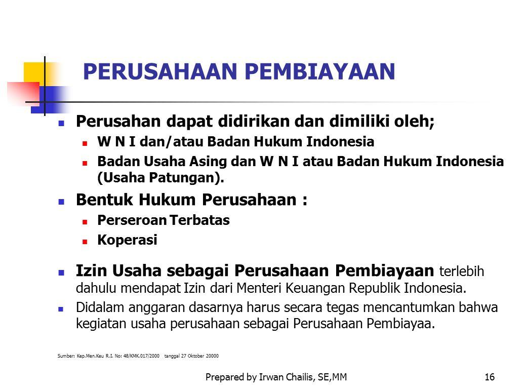 Prepared by Irwan Chailis, SE,MM16 PERUSAHAAN PEMBIAYAAN Perusahan dapat didirikan dan dimiliki oleh; W N I dan/atau Badan Hukum Indonesia Badan Usaha