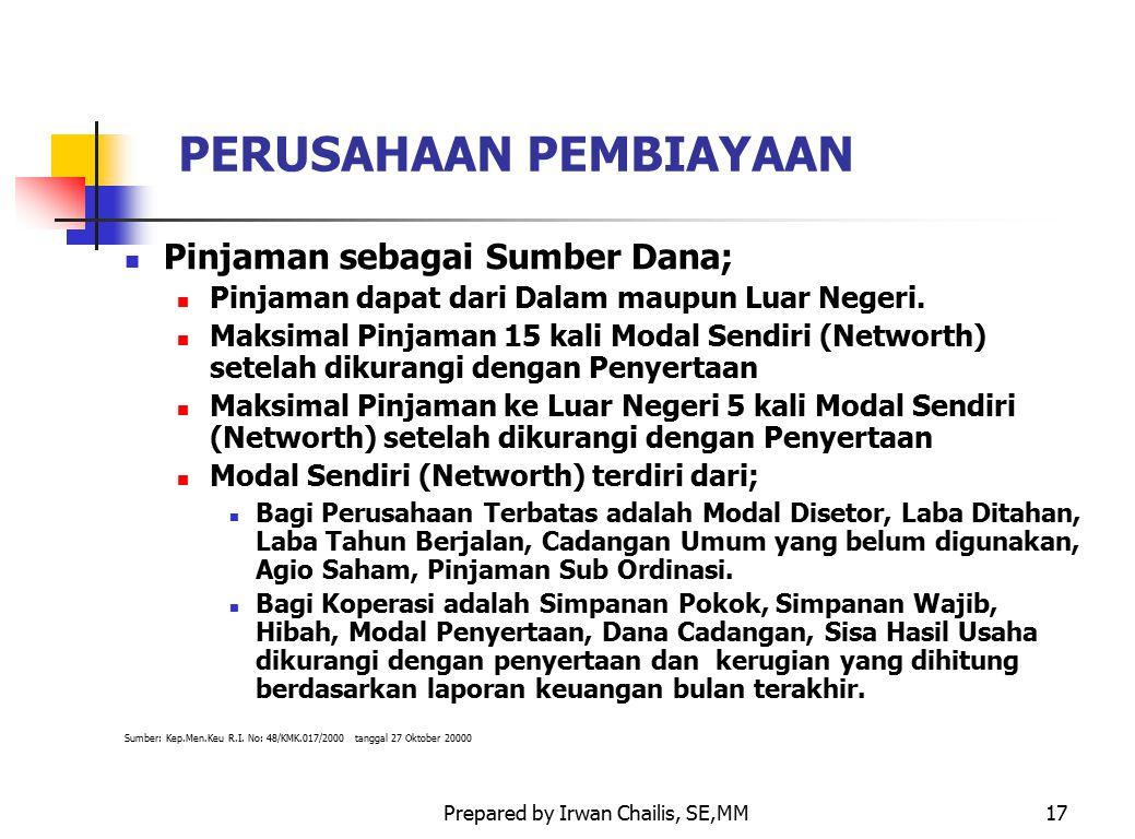 Prepared by Irwan Chailis, SE,MM17 PERUSAHAAN PEMBIAYAAN Pinjaman sebagai Sumber Dana; Pinjaman dapat dari Dalam maupun Luar Negeri. Maksimal Pinjaman