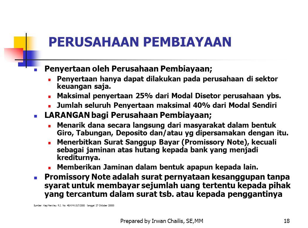 Prepared by Irwan Chailis, SE,MM18 PERUSAHAAN PEMBIAYAAN Penyertaan oleh Perusahaan Pembiayaan; Penyertaan hanya dapat dilakukan pada perusahaan di se