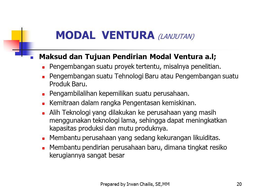 Prepared by Irwan Chailis, SE,MM20 MODAL VENTURA (LANJUTAN) Maksud dan Tujuan Pendirian Modal Ventura a.l; Pengembangan suatu proyek tertentu, misalny