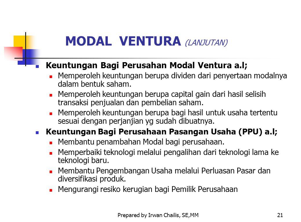 Prepared by Irwan Chailis, SE,MM21 MODAL VENTURA (LANJUTAN) Keuntungan Bagi Perusahan Modal Ventura a.l; Memperoleh keuntungan berupa dividen dari pen