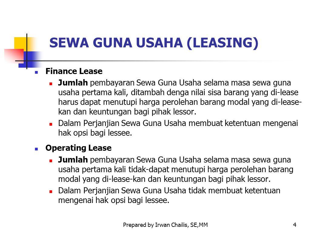Prepared by Irwan Chailis, SE,MM4 SEWA GUNA USAHA (LEASING) Finance Lease Jumlah pembayaran Sewa Guna Usaha selama masa sewa guna usaha pertama kali,