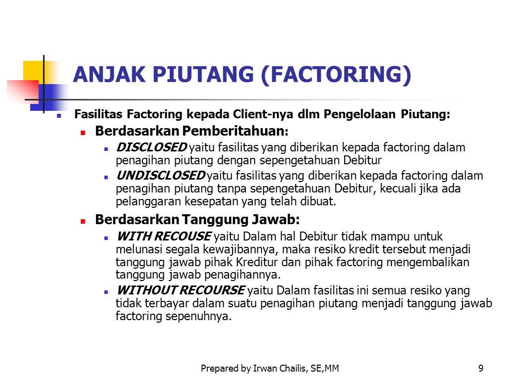 Prepared by Irwan Chailis, SE,MM9 ANJAK PIUTANG (FACTORING) Fasilitas Factoring kepada Client-nya dlm Pengelolaan Piutang: Berdasarkan Pemberitahuan :