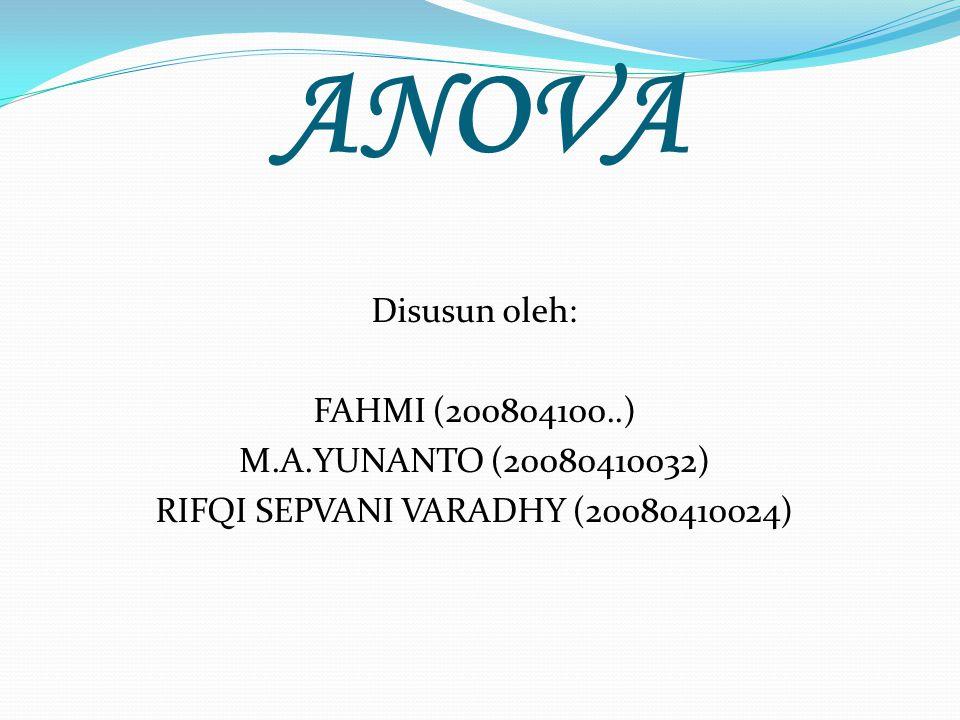 ANOVA Disusun oleh: FAHMI (200804100..) M.A.YUNANTO (20080410032) RIFQI SEPVANI VARADHY (20080410024)