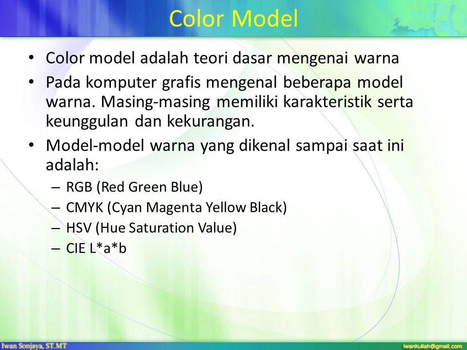 Color Model Color model adalah teori dasar mengenai warna Pada komputer grafis mengenal beberapa model warna. Masing-masing memiliki karakteristik ser
