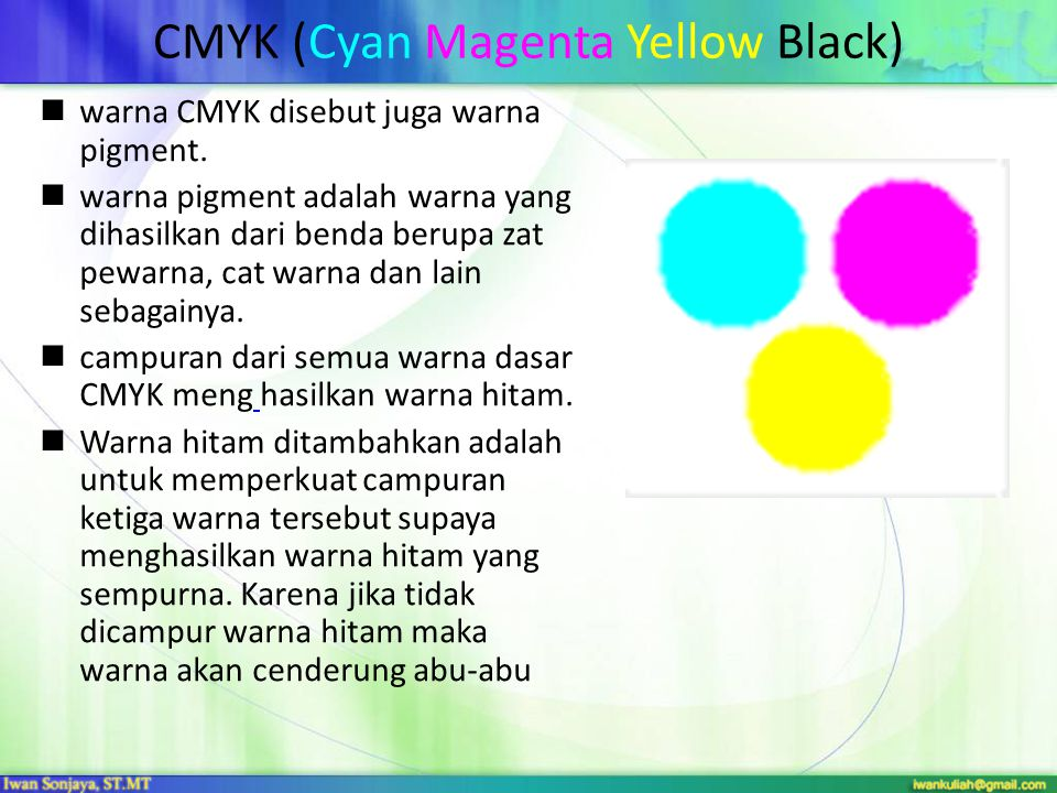 CMYK (Cyan Magenta Yellow Black) warna CMYK disebut juga warna pigment. warna pigment adalah warna yang dihasilkan dari benda berupa zat pewarna, cat