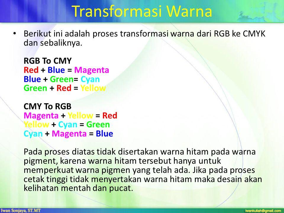 Transformasi Warna Berikut ini adalah proses transformasi warna dari RGB ke CMYK dan sebaliknya. RGB To CMY Red + Blue = Magenta Blue + Green= Cyan Gr