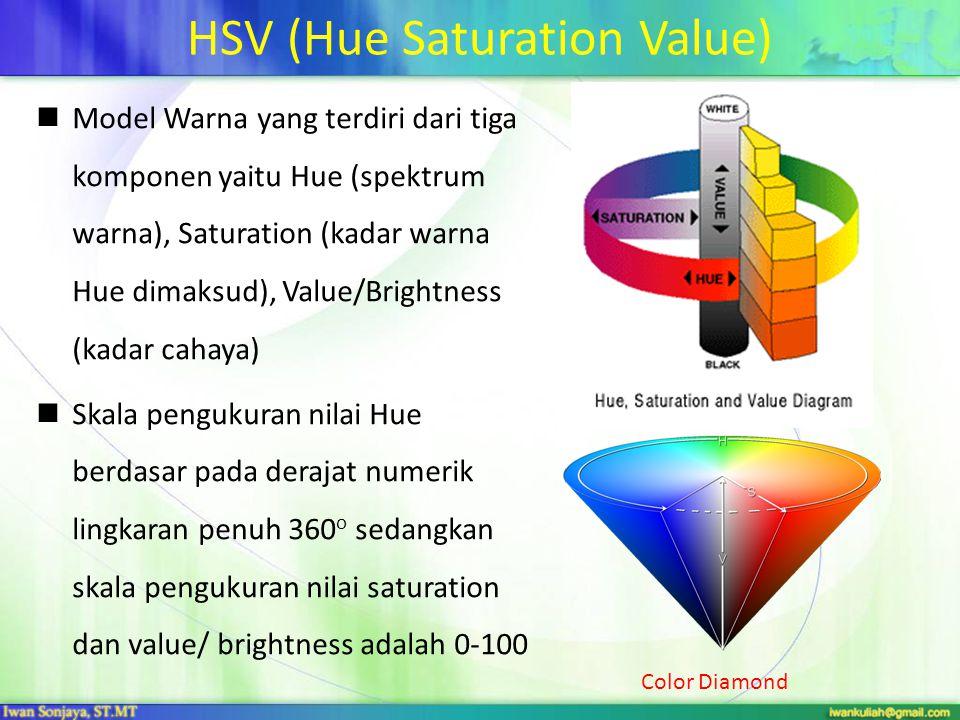 HSV (Hue Saturation Value) Model Warna yang terdiri dari tiga komponen yaitu Hue (spektrum warna), Saturation (kadar warna Hue dimaksud), Value/Bright