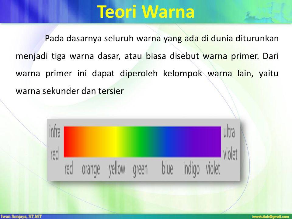 Teori Warna Pada dasarnya seluruh warna yang ada di dunia diturunkan menjadi tiga warna dasar, atau biasa disebut warna primer. Dari warna primer ini