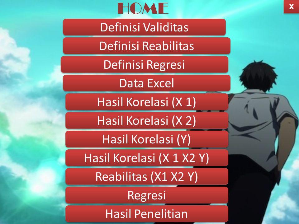 HOME Definisi Validitas Definisi Reabilitas Definisi Regresi Data Excel Hasil Korelasi (X 1) Hasil Korelasi (X 2) X X Regresi Reabilitas (X1 X2 Y) Hasil Korelasi (X 1 X2 Y) Hasil Korelasi (Y) Hasil Penelitian