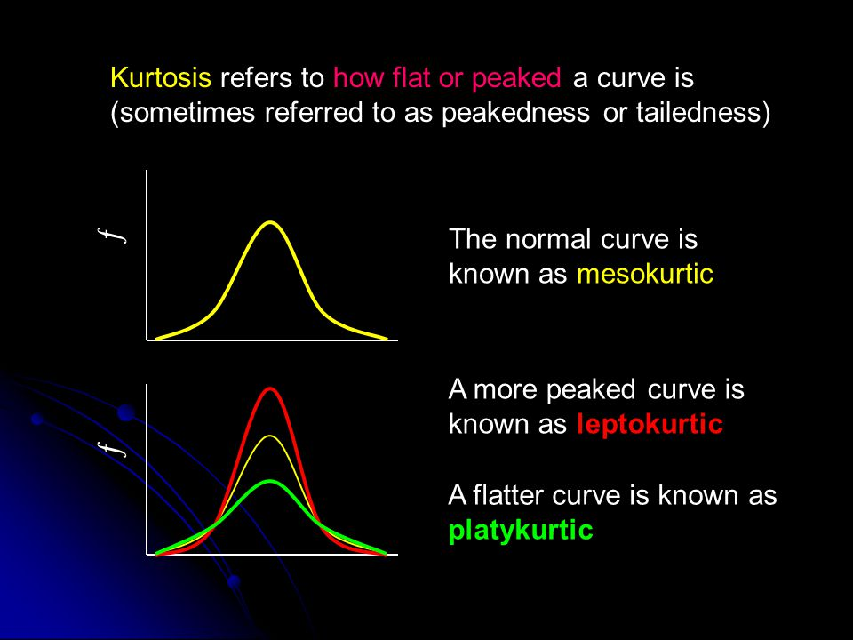 ƒ Kurtosis refers to how flat or peaked a curve is (sometimes referred to as peakedness or tailedness) The normal curve is known as mesokurtic ƒ A mor