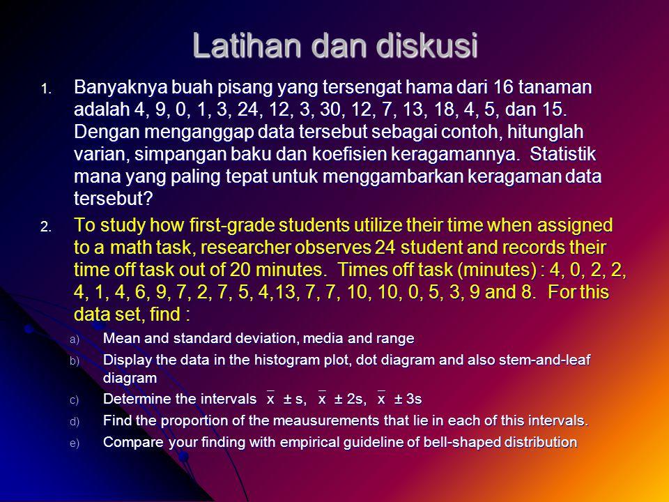 Latihan dan diskusi 1. Banyaknya buah pisang yang tersengat hama dari 16 tanaman adalah 4, 9, 0, 1, 3, 24, 12, 3, 30, 12, 7, 13, 18, 4, 5, dan 15. Den