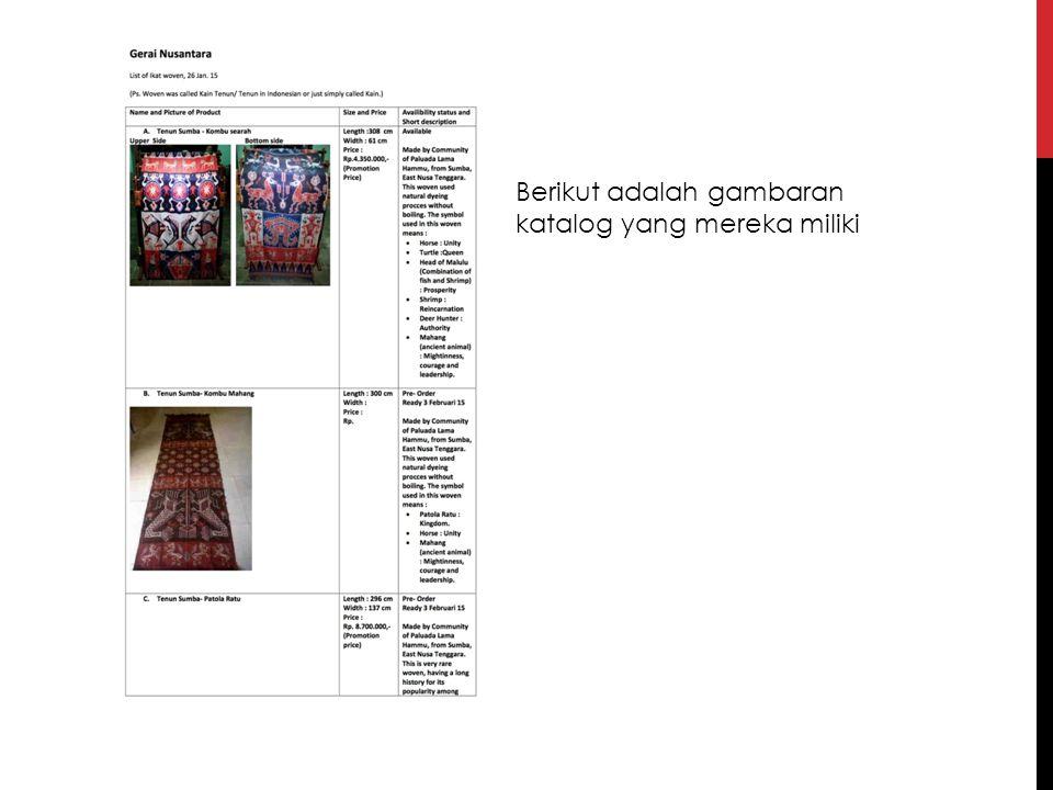 Berikut adalah gambaran katalog yang mereka miliki