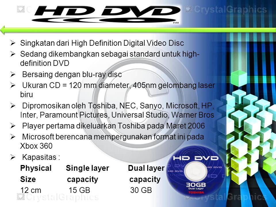  Singkatan dari High Definition Digital Video Disc  Sedang dikembangkan sebagai standard untuk high- definition DVD  Bersaing dengan blu-ray disc 