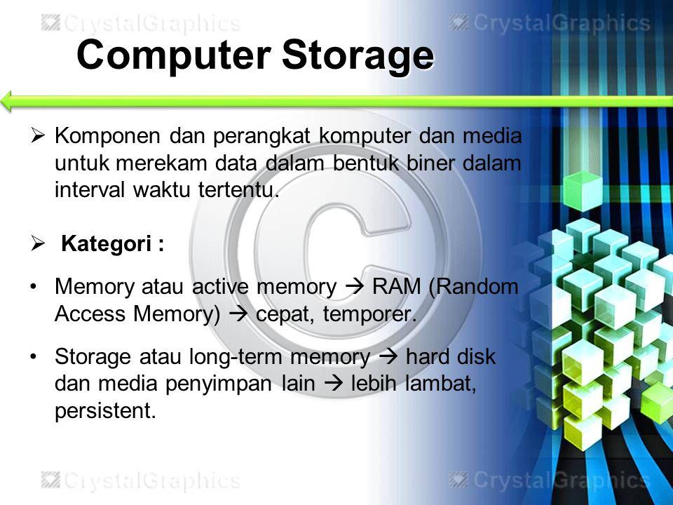 Computer Storage  Komponen dan perangkat komputer dan media untuk merekam data dalam bentuk biner dalam interval waktu tertentu.  Kategori : Memory