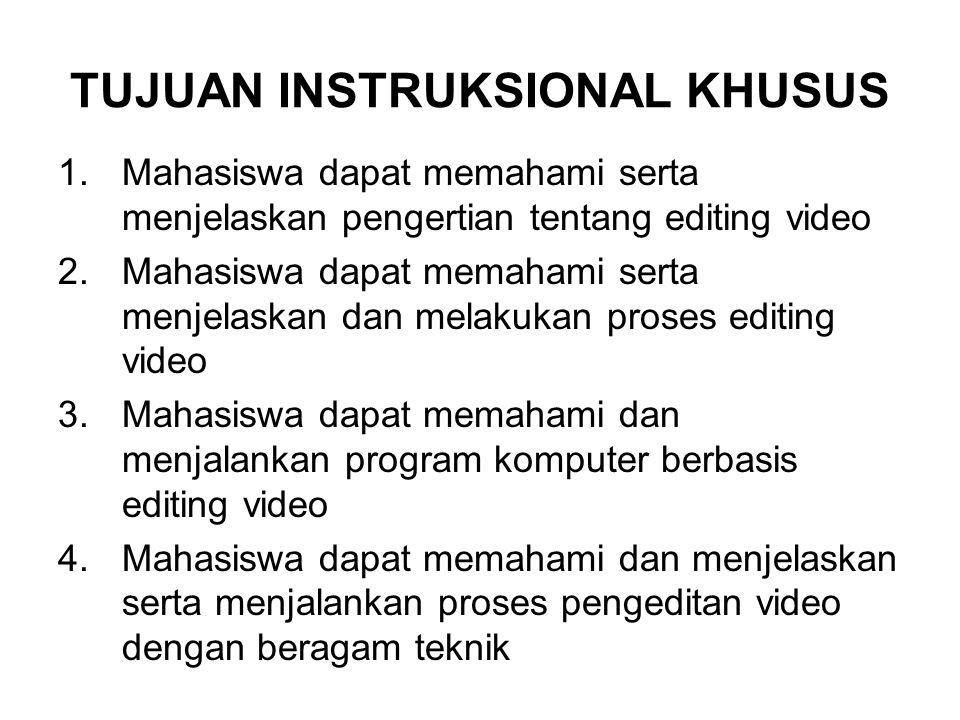 TUJUAN INSTRUKSIONAL KHUSUS 1.Mahasiswa dapat memahami serta menjelaskan pengertian tentang editing video 2.Mahasiswa dapat memahami serta menjelaskan