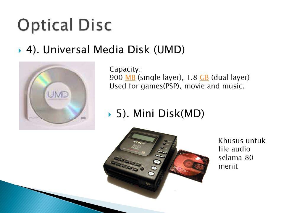  4). Universal Media Disk (UMD)  5).