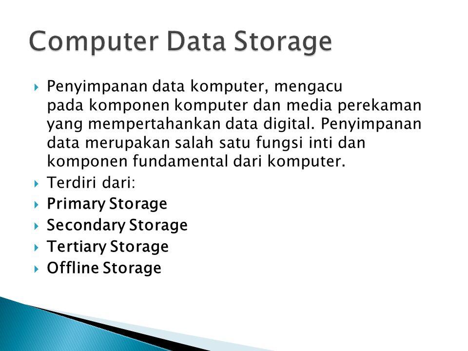 Dapat langsung diakses oleh central processing unit o Terdiri dari 3 jenis penyimpanan:  Processor register: menghubungkan langsung dengan central processing unit  Main memory: berisi program yang sedang dijalankan dan data yang sedang dipergunakan  Processor cache: kategori khusus penyimpanan yang dipergunakan oleh beberapa central processing unit.
