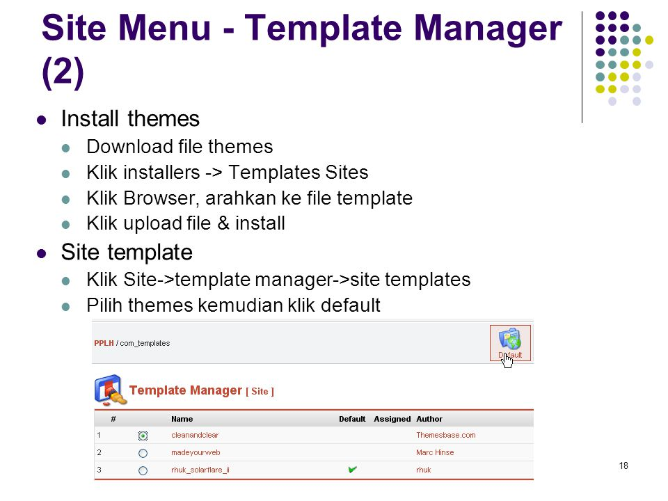 18 Site Menu - Template Manager (2) Install themes Download file themes Klik installers -> Templates Sites Klik Browser, arahkan ke file template Klik